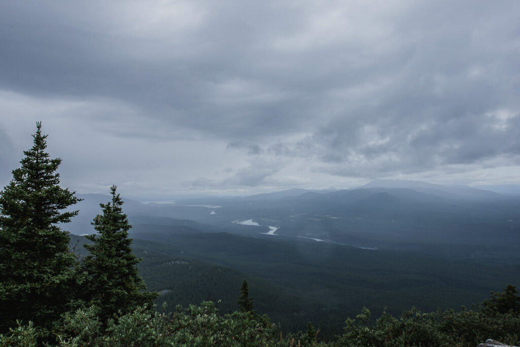 Stormy skies at the top of a viewpoint in Whitehorse, Yukon.
