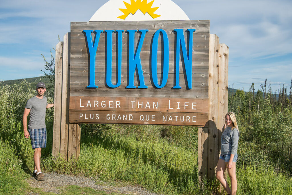 Welcome to the Yukon sign at the border of Yukon and Alaska