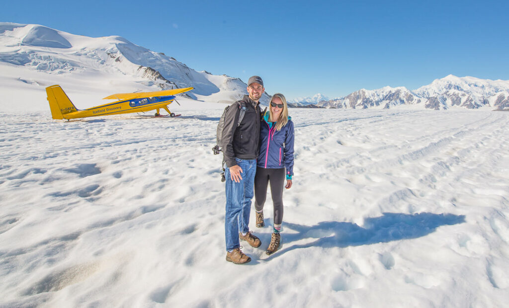 Chris and Nicole with Icefield Discovery Helio Couier on the Icefield