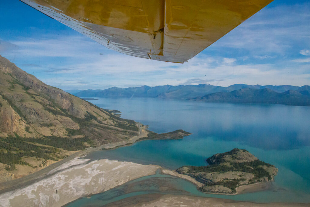 Flying over Kluane Lake and Williscoft Peak