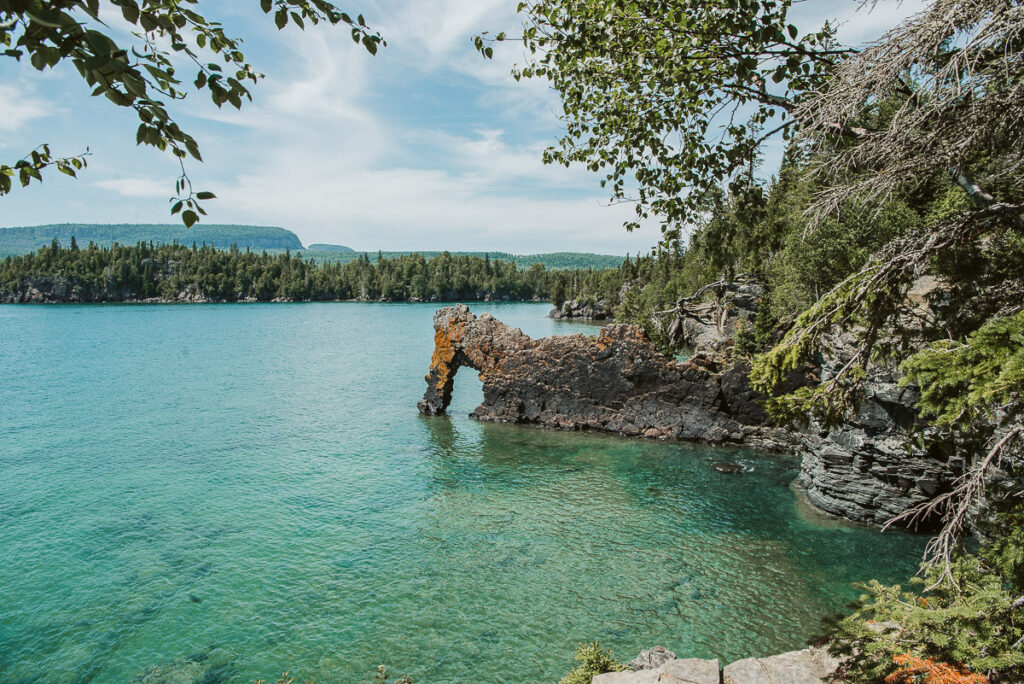 The sea lion rock formation sitting in the waters of Lake Superior in Sleeping Giant Provincial Park