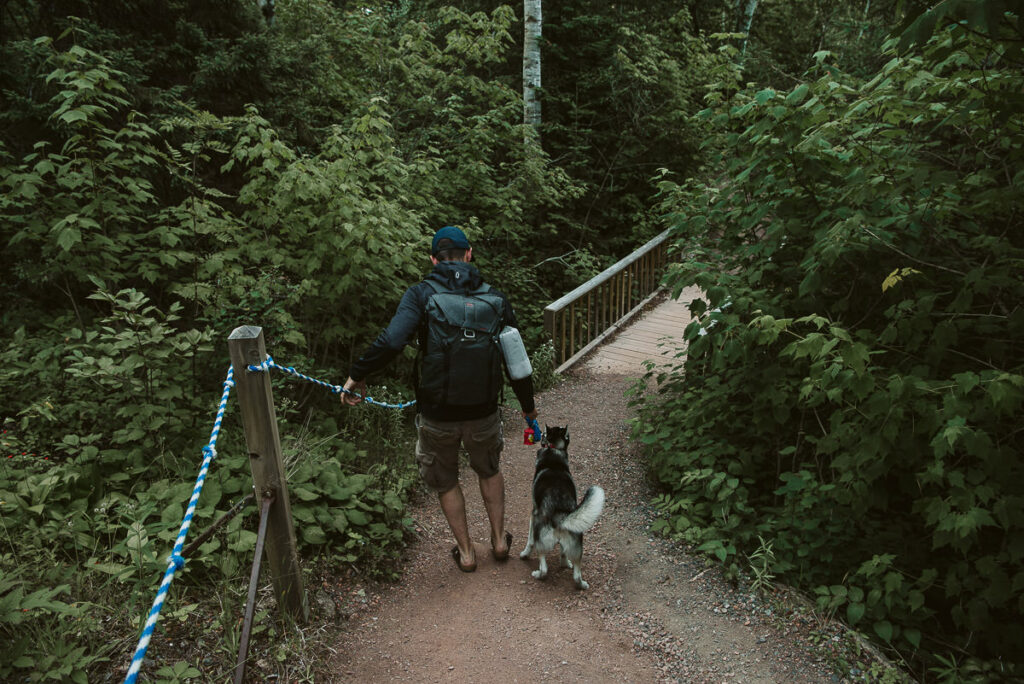 Young man and husky puppy holding onto chain railing on steep dirt path heading to Ouimet Canyon.