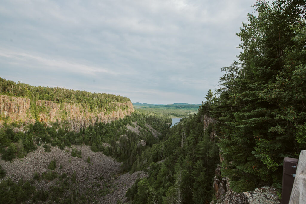 First view of Ouimet Canyon from the first viewing deck. Looking out towards the water down the 2km path of the gorge.